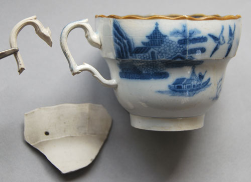 Blue printed tea cup