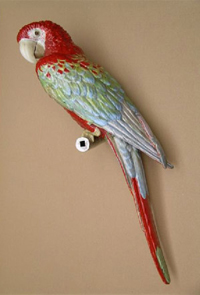 A large and rare Bone China parrot