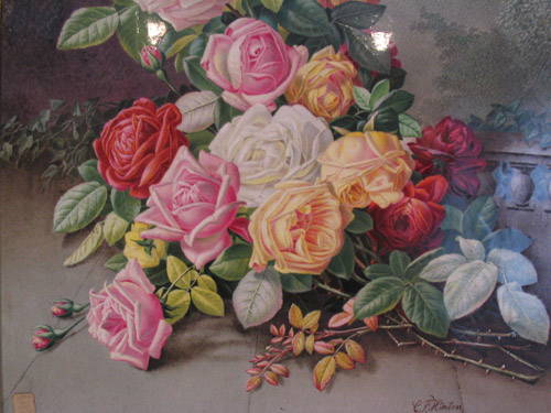 Detail from a ceramic plaque painted by C. F. Hurten c.1880.