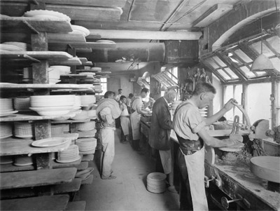 Plate makers Bill Tilseley, Frank Foulkes and Walter Day at work c.1935